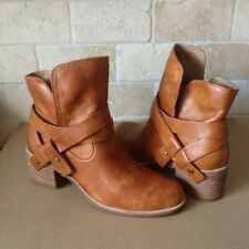 UGG ELORA LEATHER CHESTNUT ANKLE WRAP BOOTS BOOTIES US SIZE 12 WOMENS NIB