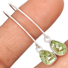Natural Green Amethyst Rough 925 Sterling Silver Earring Jewelry EE13360