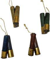 Shotgun Shell Ornaments Set of 4 Decorative Hunting Style Christmas Poly Resin