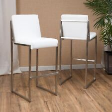 Set of 2 White Padded Leather Bar Stool 30 in Height Chair Kitchen Silver Moder