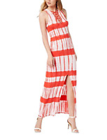 Material Girl Maxi Dress Juniors Printed Lace-Up Red White Tie-Dye Women Stretch