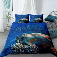 Wonderful Sea Turtles Travel 3D Quilt Duvet Doona Cover Set Pillow case Print