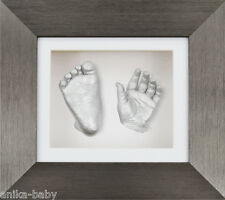 Christening Baby Gift 3D Casting Kit Silver Hand Feet Casts Brushed Pewter Frame