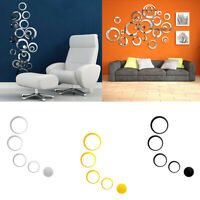 24pcs 3D Circles Mirror Wall Sticker DIY Decal Vinyl Mural Home Decor Removable.
