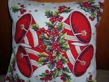 VINTAGE TABLECLOTH WILENDUR PILLOW SHAM  RED BELLS