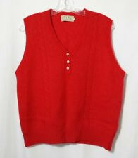 LL BEAN Wool Pullover Sweater Vest V Neck Womens Sz 42 Shetland Red Scotland Vtg