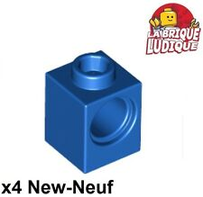 Lego Technic - 4x Brique Brick 1x1 hole bleu/blue 6541 NEUF