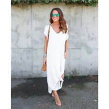 Womens Size Plus Summer T-Shirt Long Maxi Split Evening Party Solid Shirt Dress
