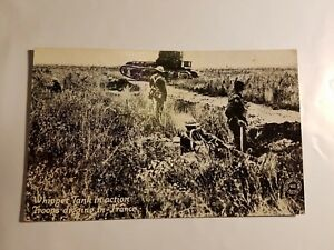 WWI Chicago Daily News WAR POSTAL Whippet tank in action troops FRANCE military