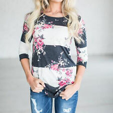 Women Autumn Casual Shirts Floral Print Three Quarter Sleeve Tops T-shirt Blouse White S