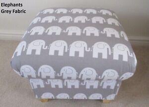 Storge Footstool Grey White Elephants Fabric Pouffe Footstall Nursery Bedroom