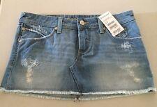 NWT Cute Bebe Sport Denim Destroyed Mini Skirt Size 28   MSRP $89   HOT ITEM