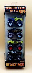 Planet Toys Monster Truck Rev 'n Go 4x4 4 Pack BIGFOOT DRAGON OBSESSION RAMMUN..