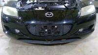 04-08 Mazda RX8 Front Bumper Assembly with Fog Lights (Brilliant Black A3F)