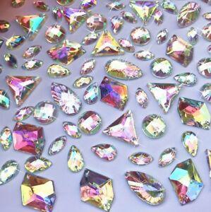 50X Sparkly Crystal AB Flat Back Loose Rhinestone Gems jewel diamond assorted UK
