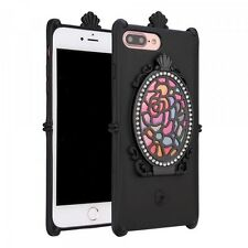 iPhone 7 Plus Cell Phone Case - Rose Diamond Mirror Case (Black) + Free Earbuds!