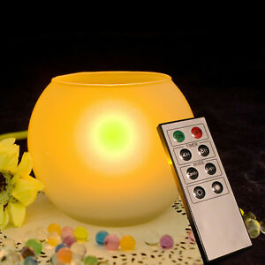 Flameless LED Décor Candle with Frosted Glass Candle Holder w/ Remote Halloween