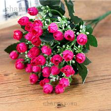 Silk Artificial Mini Rose Buds Flowers Bouquet Wedding Home Office Decor Floral