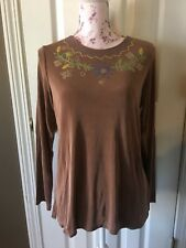 NWT Citiknits Acetate Slinky Travel Blouse Size Small Boho Embroidered