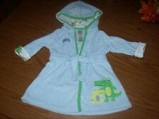 Baby Boys Size 0-9 M Blue w/ Crocodile Soft Hooded Bath Robe Euc