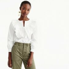 NEW J.CREW Ruffle-Front Shirt Top Blouse Size 12 White H0063 Sold Out!