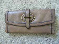 Fossil Vintage Leather Reissue Medium Gray Flap Clutch Long Folding Wallet