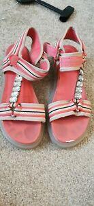 River Island Coral Stripe Strappy Gum Sole Sandals Size 8