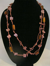 """Vintage Flapper Glass Beads, Shells & Cord Necklace 60"""""""