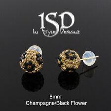Champagne Black Flower Stud Earrings 14k Gold 8mm Austrian Crystal Ball