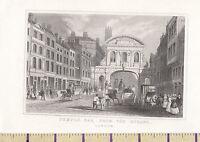 C1840 Vittoriano Stampa ~Londra~ Temple BAR Da The Strand