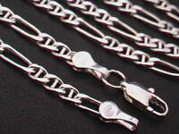 """Taxco Mexico 925 Sterling Silver Anchor Figaro Chain Necklace. 16""""-24"""", 6.5-10g"""