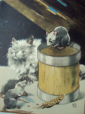 ILLUSTRATION D ARMAND RAPENO 1949 LE CHAT ET LES RATS