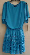 NWT $119 SL FASHIONS Size 8 LASER CUT Chiffon Blouson Dress Magnum Blue 112491