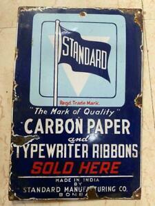 Old vintage Porcelain Enamel Standard Typewrriter Ribbons  Sign Board from India