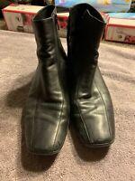Prada Sport Black Leather Low Heel Zip Flat Ankle Boot Sz 39 8.5 Preowned