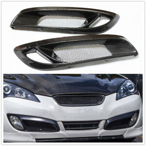 Real Carbon Fiber Front Fog Light Cover Trim For Hyundai Genesis Coupe 2008-2012