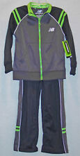 NEW BALANCE BOYS GREY / BLACK WITH GREEN TRIM ATHLETIC WARM-UP SUIT SIZE 4 NWT