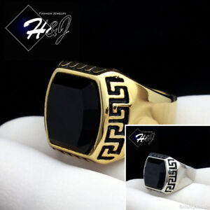 MEN's Stainless Steel Gold/Silver Black Onyx Greek Key Design Ring Size 8-13*R93