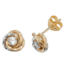9ct Yellow & White Gold Cubic Zirconia Fancy Detail Knot Style Studs ES371