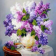 5D Lilac DIY Diamond Painting Cross Stitch Kits Home Decor Flowers Rewarding