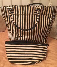 NEW XLarge Striped Tote and Travel Pouch Black and White Round Bottom