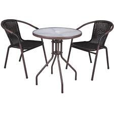3er SET Bistroset Sitzgruppe Gartengarnitur Rattan Gartenmöbel Terrassenmöbel
