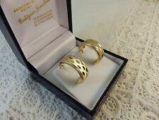9ct 9carat Yellow & White Gold Hoops Earrings, butterfly fitting