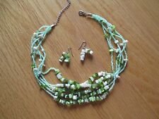 Earring Set with Green Stones Five Strand Necklace and Pierced