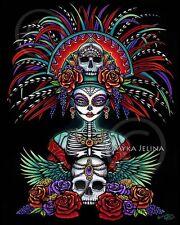 Dia De Muertos Sugar Skull Bones Calaca Festival Ltd Ed CANVAS Embellished 8x10