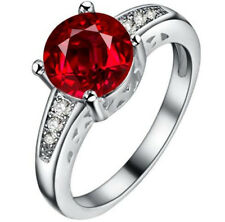 Fashion Women Jewelry Red Gemstones Wedding Engagement Party Ring Size:8