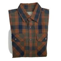 St Johns Bay Mens Long Sleeve Flannel Shirt S Plaid Button Down  Blue green  46