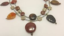 Double Strand Necklace - Jasper & Agate Beads Sterling Silver Carved Beads J002