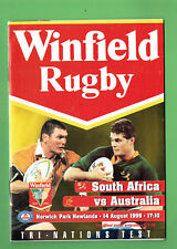 #Mm. South Africa V Australia Rugby Union Program 14th August 1999