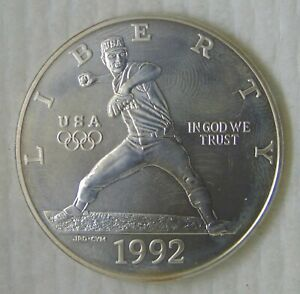 1992 D USA OLYMPIC Dollar Silver Commemorative MS++ UNC!